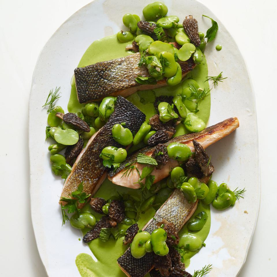 Seared Salmon, Morels & Fava Beans with Green Goddess Sauce Becky Selengut