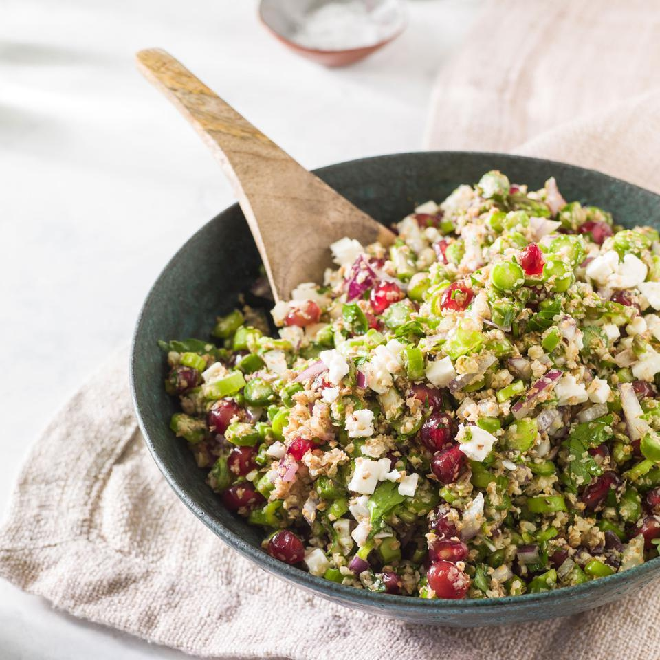 Asparagus and pomegranate seeds are a fun addition to this easy tabbouleh recipe. Serve this healthy whole-grain side with chicken kebabs, tzatziki and pita bread for a Middle Eastern-inspired dinner.