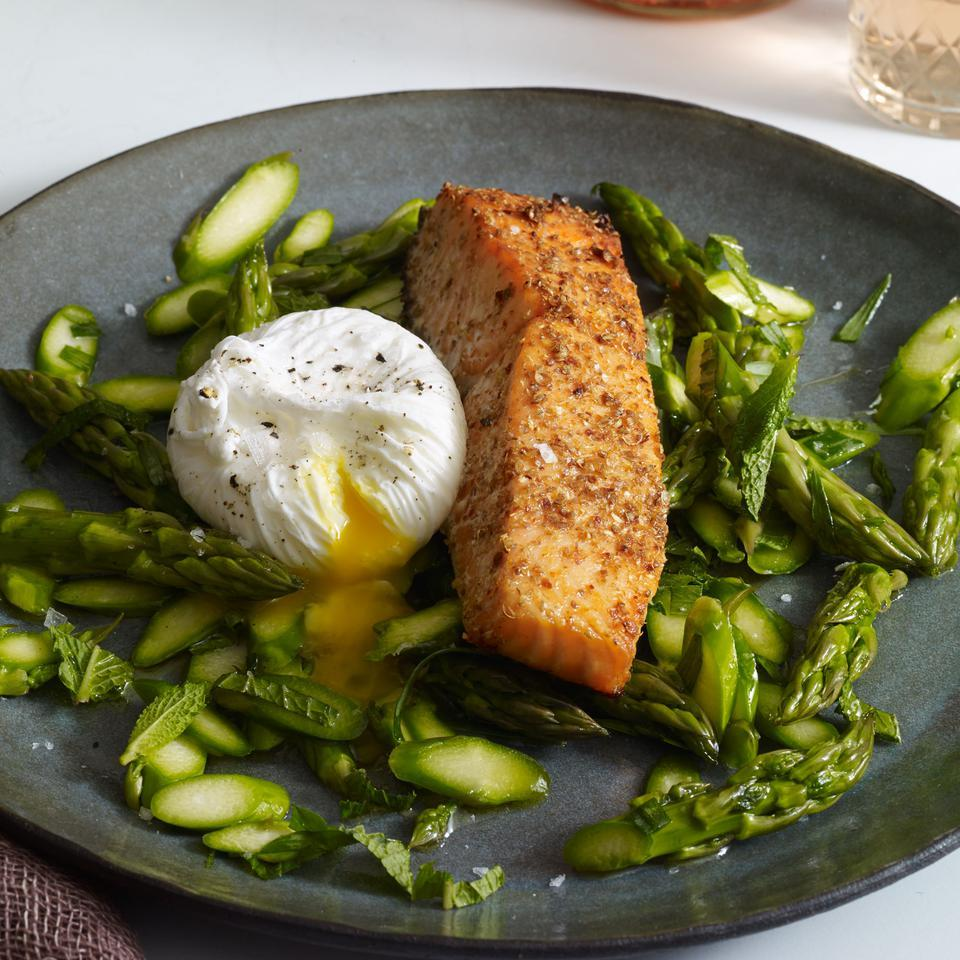 Coriander-&-Lemon-Crusted Salmon with Asparagus Salad & Poached Egg Becky Selengut