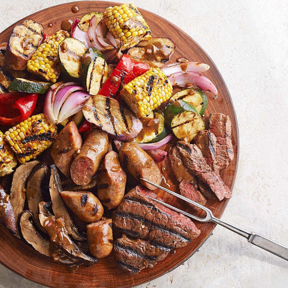 Mixed Grill with Balsamic-Mustard Vegetables Katie Workman