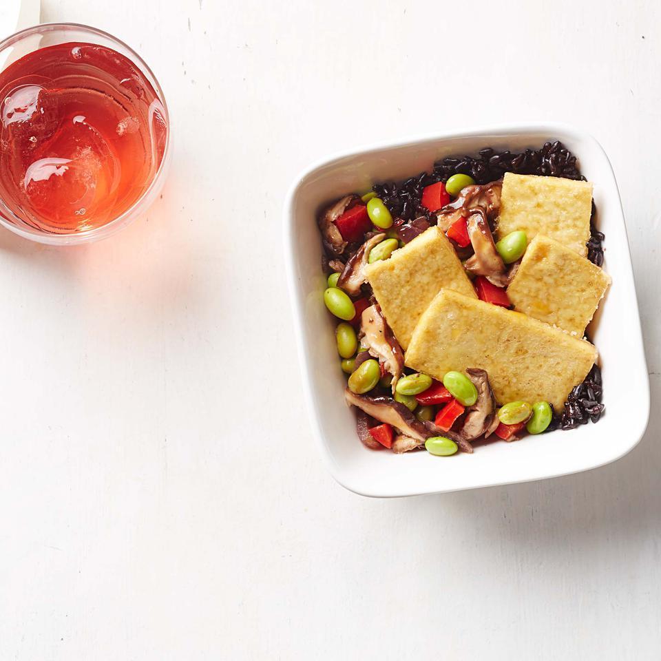 Crispy Tofu with Black Rice & Edamame-Mushroom Stir-Fry Sara Haas, R.D.N., L.D.N.