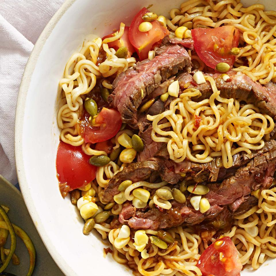 Chipotle-Sesame Noodles with Steak EatingWell Test Kitchen