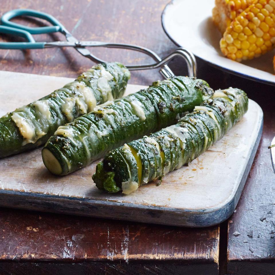 Garlic-Parmesan Hasselback Zucchini Breana Killeen
