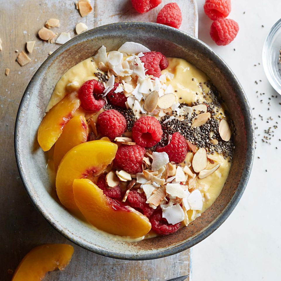 Raspberry-Peach-Mango Smoothie Bowl Breana Killeen