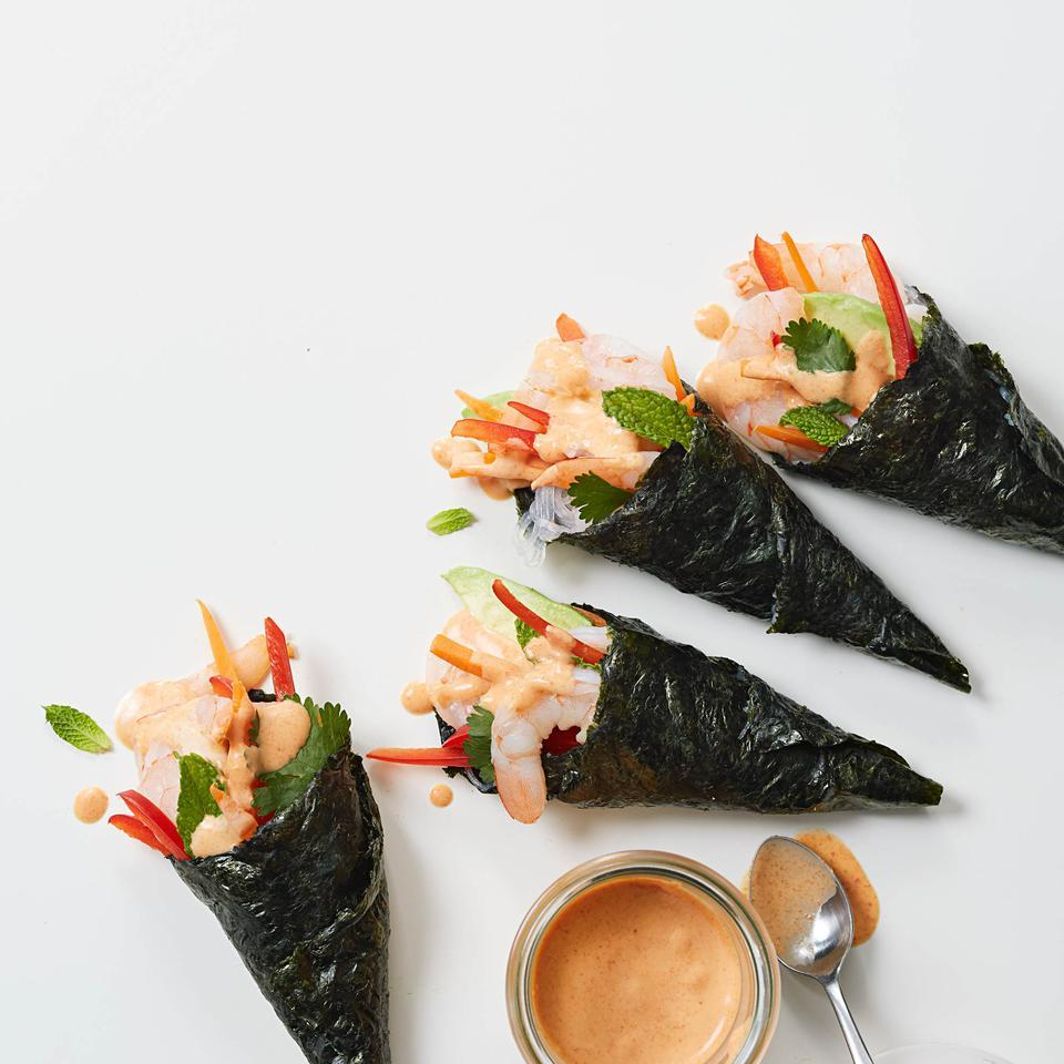 Set out all the ingredients for these healthy hand rolls so diners can have fun making their own. Look for bean thread noodles—sometimes labeled vermicelli, mung bean or cellophane noodles—along with sheets of nori (seaweed) in the Asian section of most supermarkets.