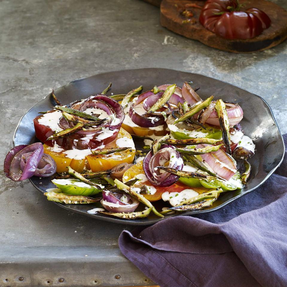 Tomato Salad with Charred Red Onions & Okra Fries Vivian Howard
