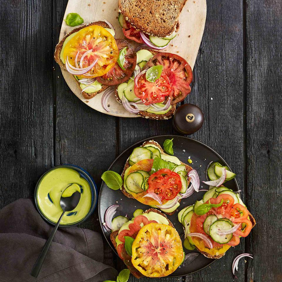 Tomato Sandwiches with Basil-Anchovy Mayo Vivian Howard