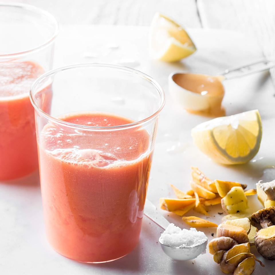 Fresh ginger and turmeric make this watermelon smoothie recipe a super-trendy and healthy drink. Serve it over ice for a refreshing way to start your day.