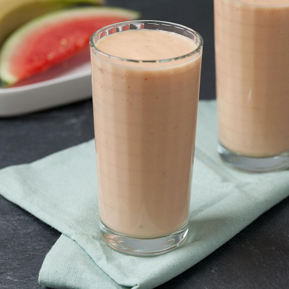 This satisfying fruit smoothie recipe has only four ingredients for a quick and easy healthy breakfast on the go.Source: EatingWell Magazine, July/August 2016