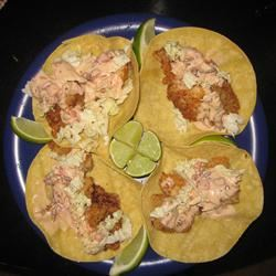Fried Fish Tacos with Chipotle-Lime Salsa