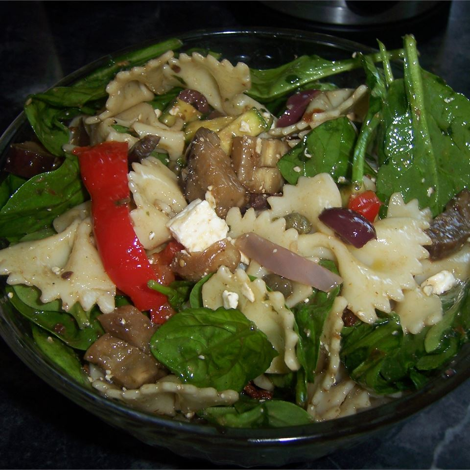 Greek Pasta Salad with Roasted Vegetables and Feta Jennie A