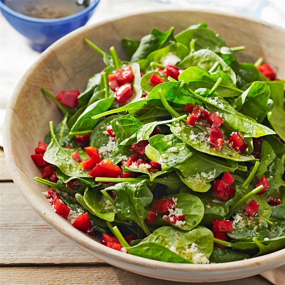 Super Easy Spinach and Red Pepper Salad Allrecipes Magazine