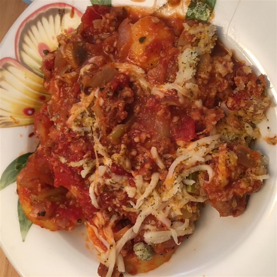 Polenta with Spicy Sausage-Veggie Sauce WifeandChef