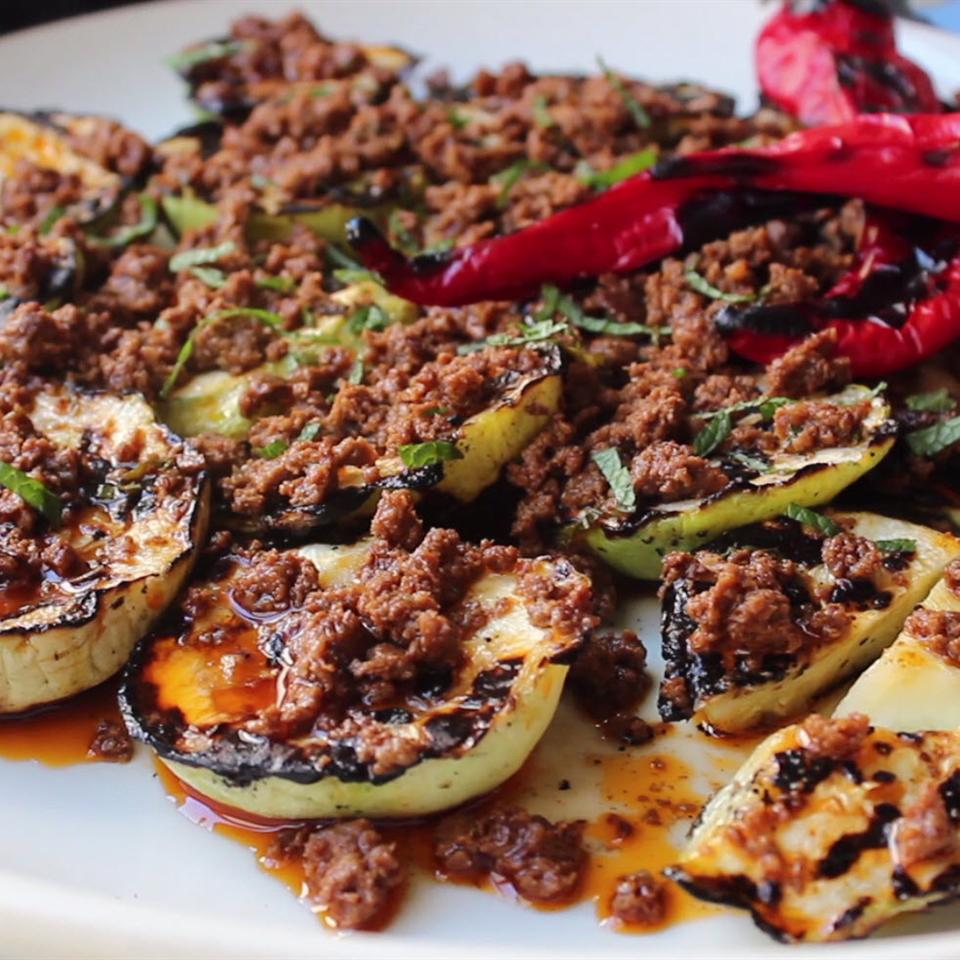 Grilled Pattypan Squash with Hot Chorizo Vinaigrette