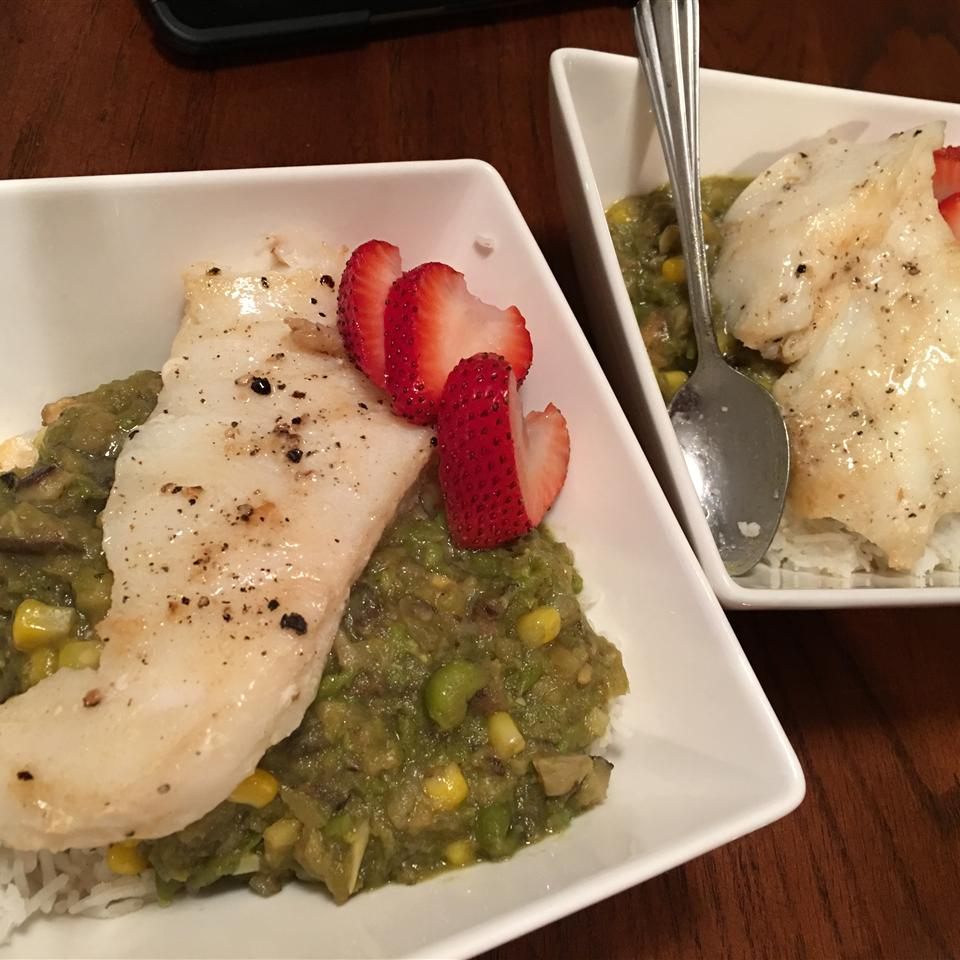 Spring Pea Green Curry with Black Cod and Strawberry DORKYDIANA