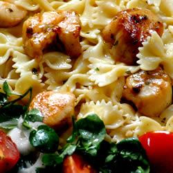 Basil Pan-Seared Scallops over Pasta Grace