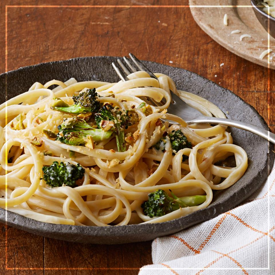 Roasted Broccoli Alfredo Pasta with Pistachio Crumble Trusted Brands