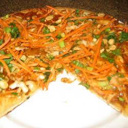 Thai Chicken Pizza with Carrots and Cilantro singlegirl