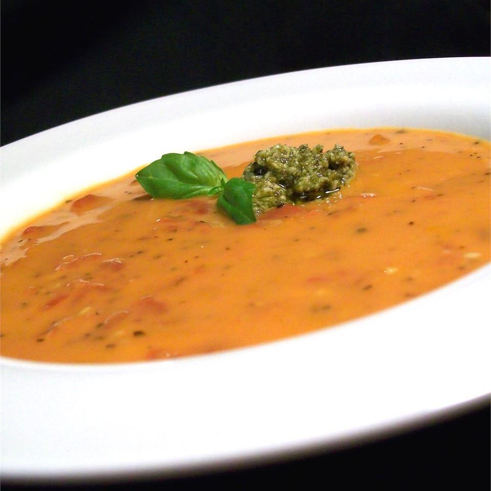 Cream of Tomato Soup with Pesto