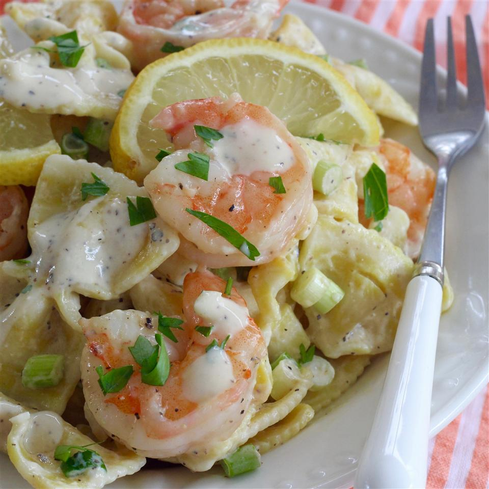 Shrimp Pasta Salad With a Creamy Lemon Dressing lutzflcat