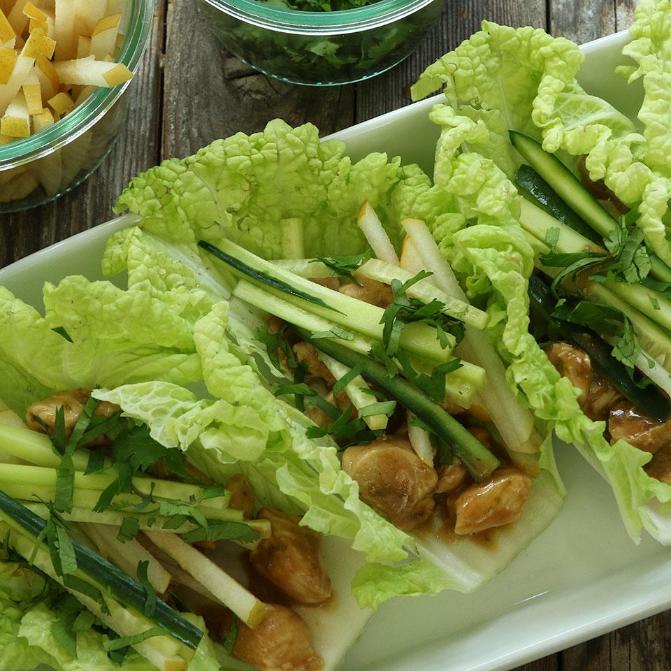 Peanut-Chicken Cabbage Wraps EatingWell Test Kitchen