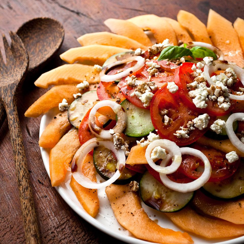 Melon, Tomato & Onion Salad with Goat Cheese Marie Simmons