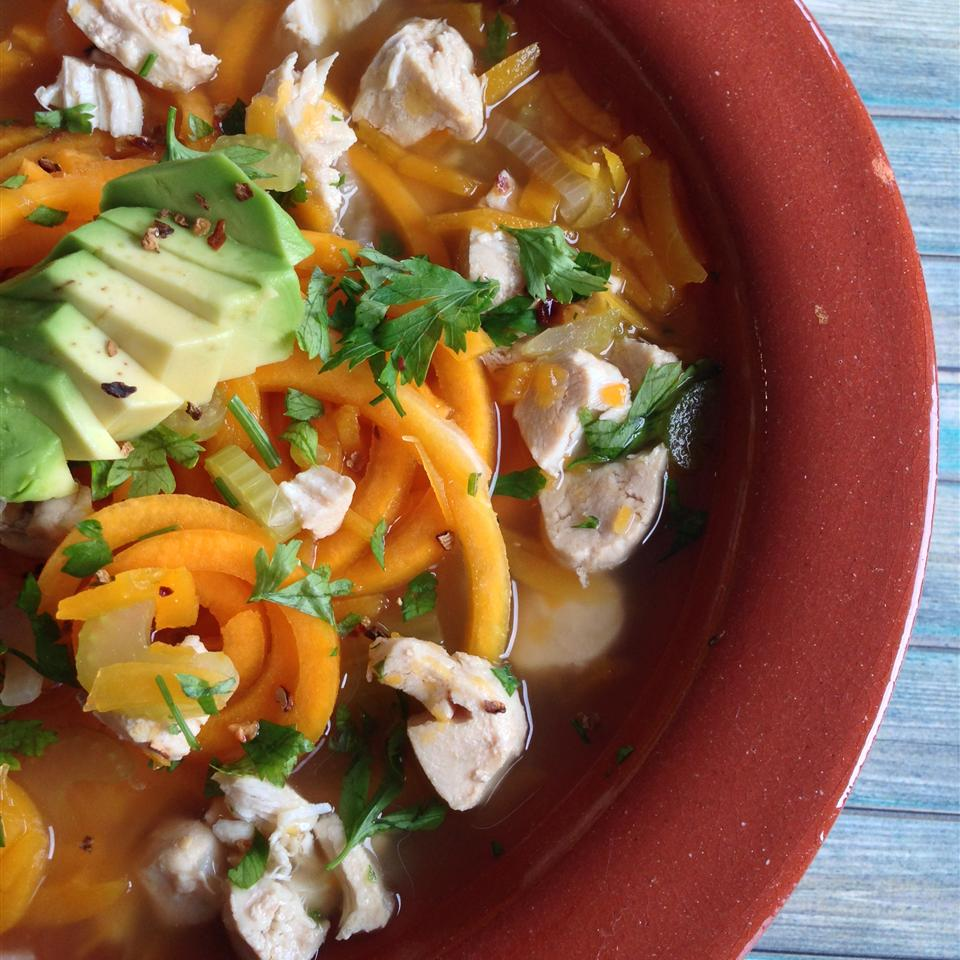 Butternut Squash Noodle Soup with Turkey