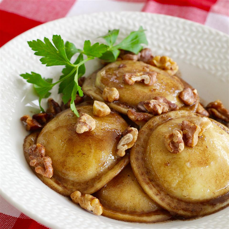 """Here's a quick and easy ravioli with balsamic vinegar, butter, toasted walnuts, and Parmesan cheese. """"Simple and delicious,"""" says Nicholio, who rates it 5 stars. """"I used a little extra butter and browned the cooked ravioli in it, then drizzled with balsamic and topped with parm and nuts."""""""