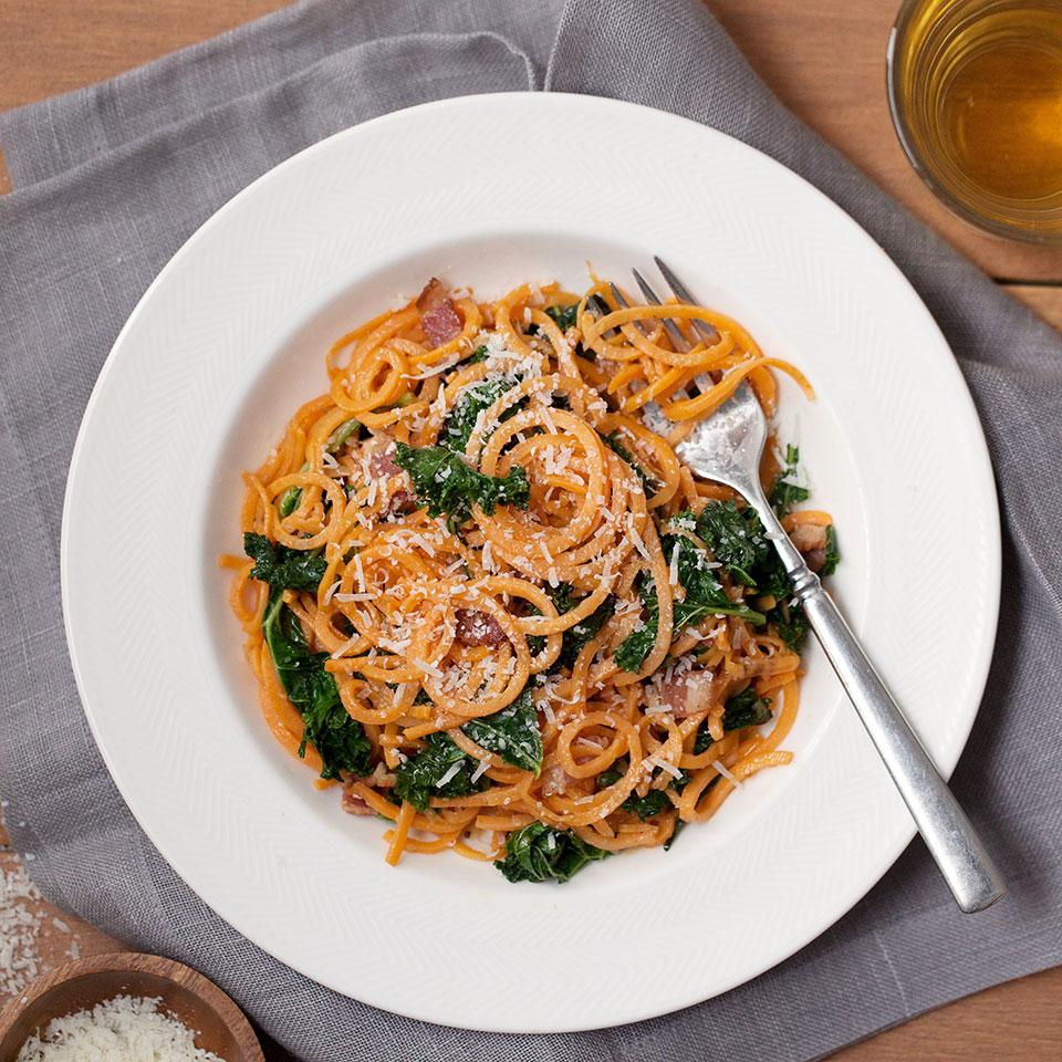 Sweet Potato Carbonara with Kale Breana Killeen