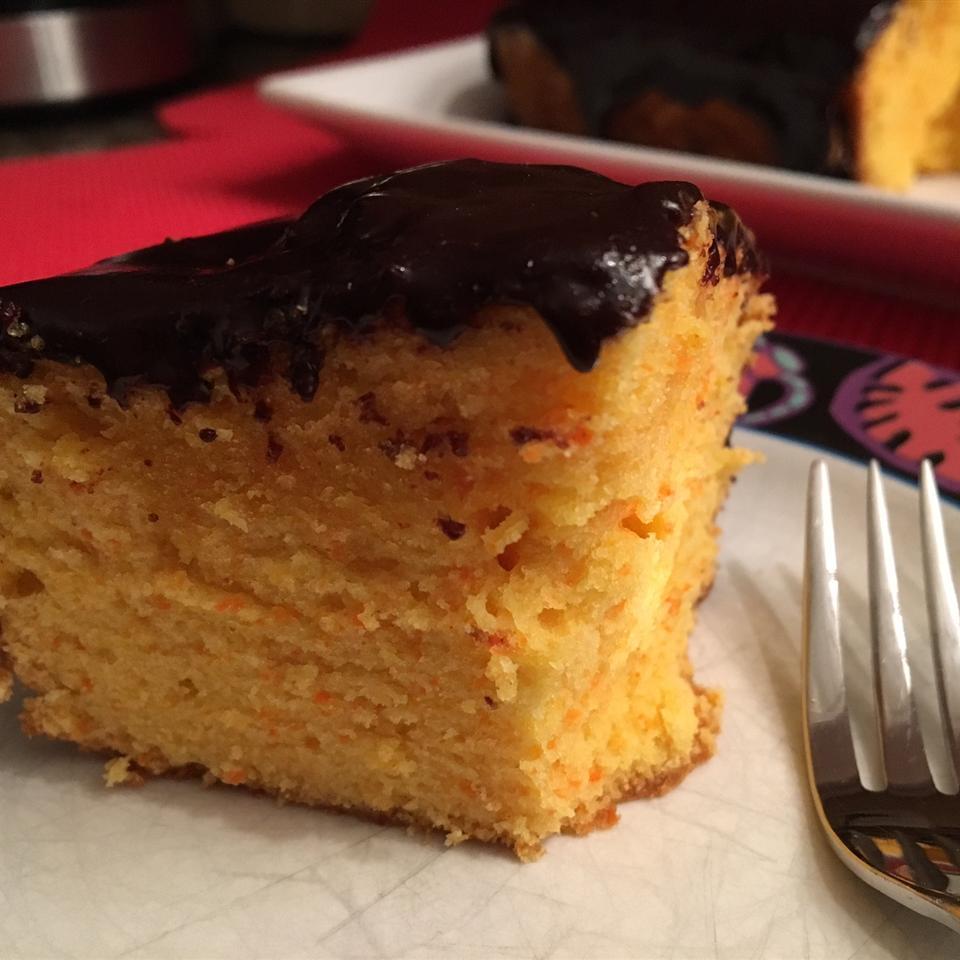 Brazilian-Style Carrot Cake with Chocolate Sauce