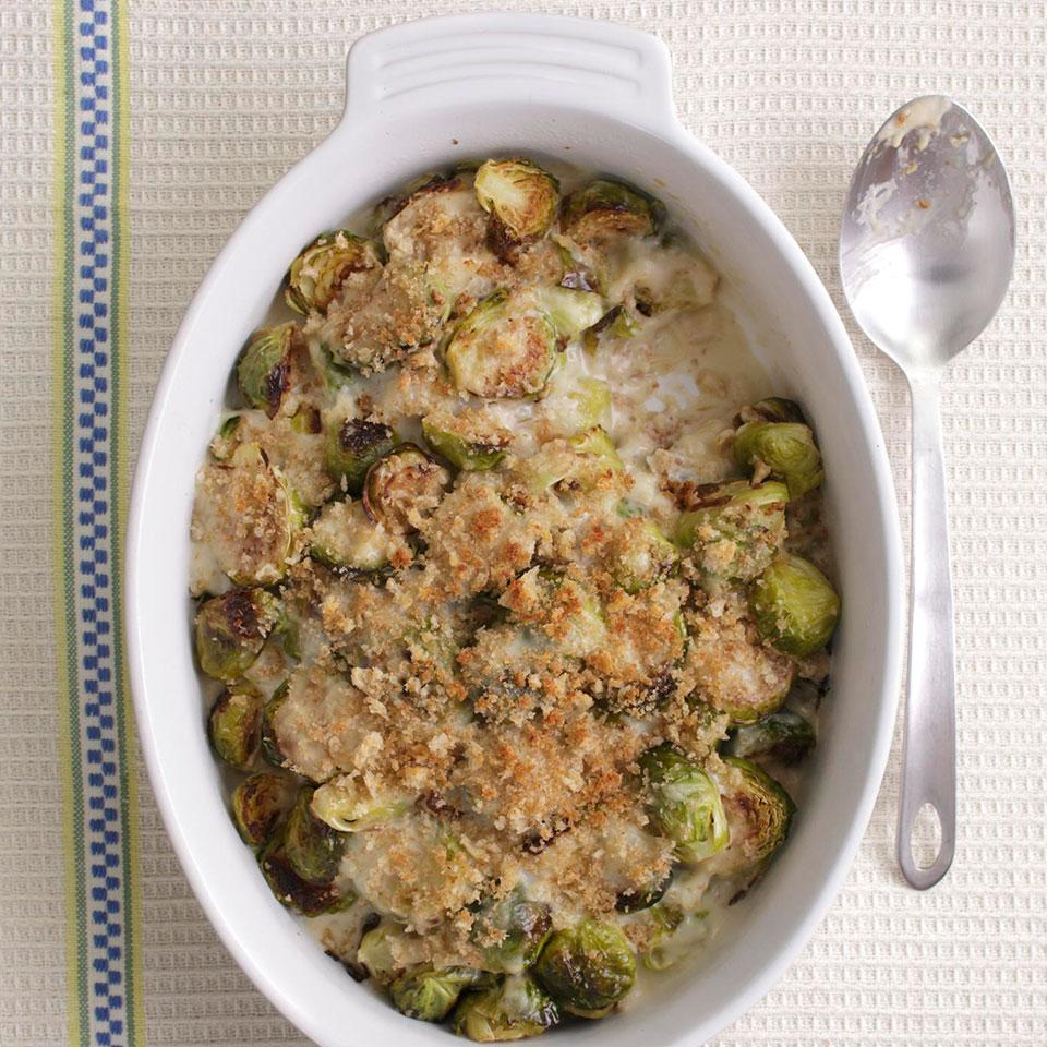 A creamy Brussels sprouts casserole is a delightful accompaniment to any holiday meal. Our healthier version skips the heavy cream and butter found in most recipes--saving about 160 calories and 12 grams of saturated fat compared to a traditional version.