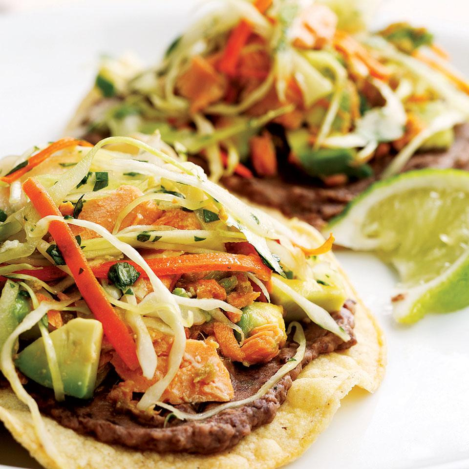 Pickled jalapeños, cilantro and avocado perk up convenient canned salmon for a quick tostada topping. Skip store-bought and make your own crispy shells in the oven. Serve with: Brown rice cooked with diced tomatoes and onions or salsa.