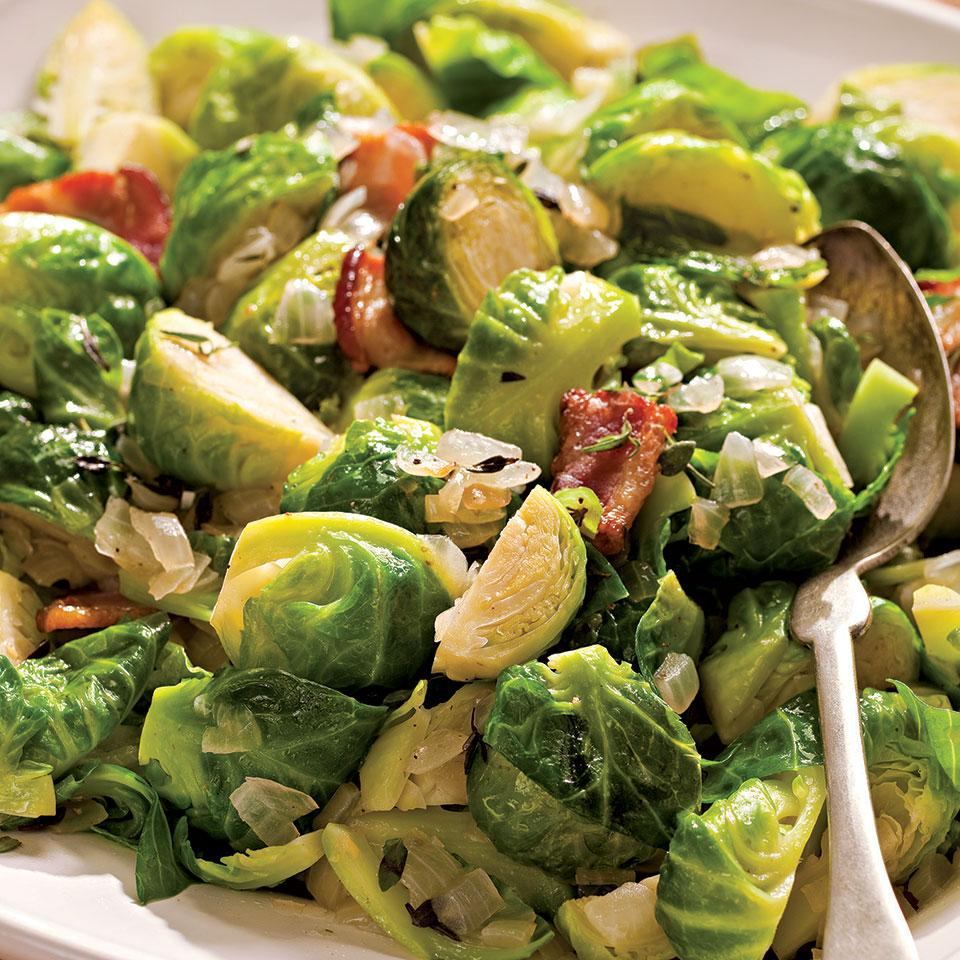Sauteed Brussels Sprouts with Bacon & Onions EatingWell Test Kitchen