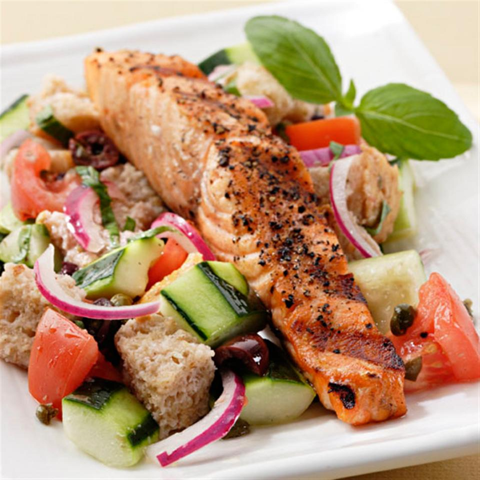 This traditional Italian bread salad is full of tomatoes and cucumber and gets a protein boost with the addition of grilled salmon. Source: EatingWell Magazine, August/September 2006
