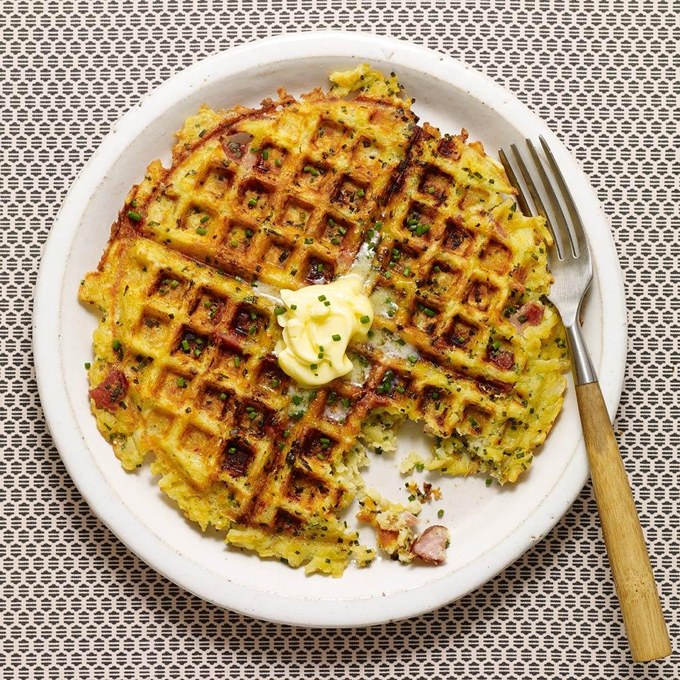 This healthy breakfast-for-dinner recipe skips stirring up a traditional batter and uses frozen hash browns to make crunchy waffles instead. Top the waffles with a little cultured butter and chives or a dollop of whole-grain mustard and serve with a big green salad.