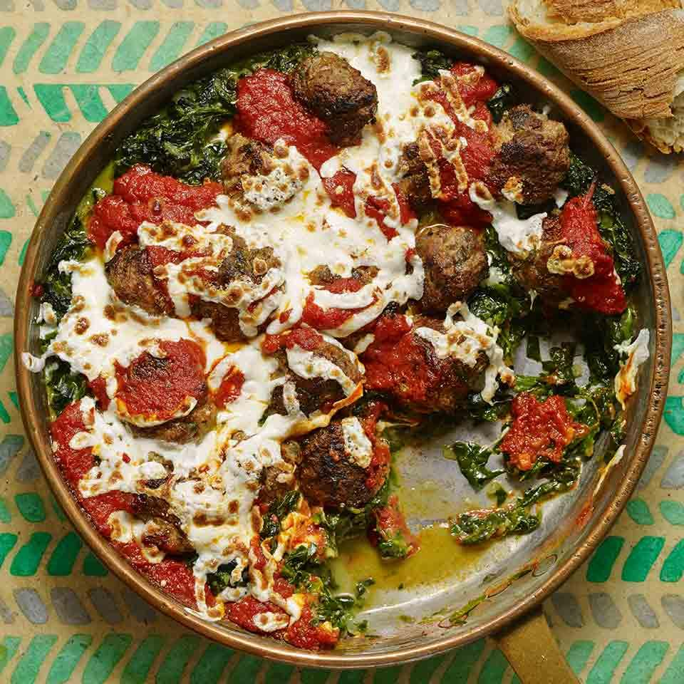 Spaghetti and meatballs is a no-brainer, but pairing meatballs with a pile of creamed spinach topped with marinara and cheese is a flavorful twist. Pick your favorite frozen meatballs--beef, chicken or veggie--for this healthy dinner recipe. Source: EatingWell Magazine, September/October 2016