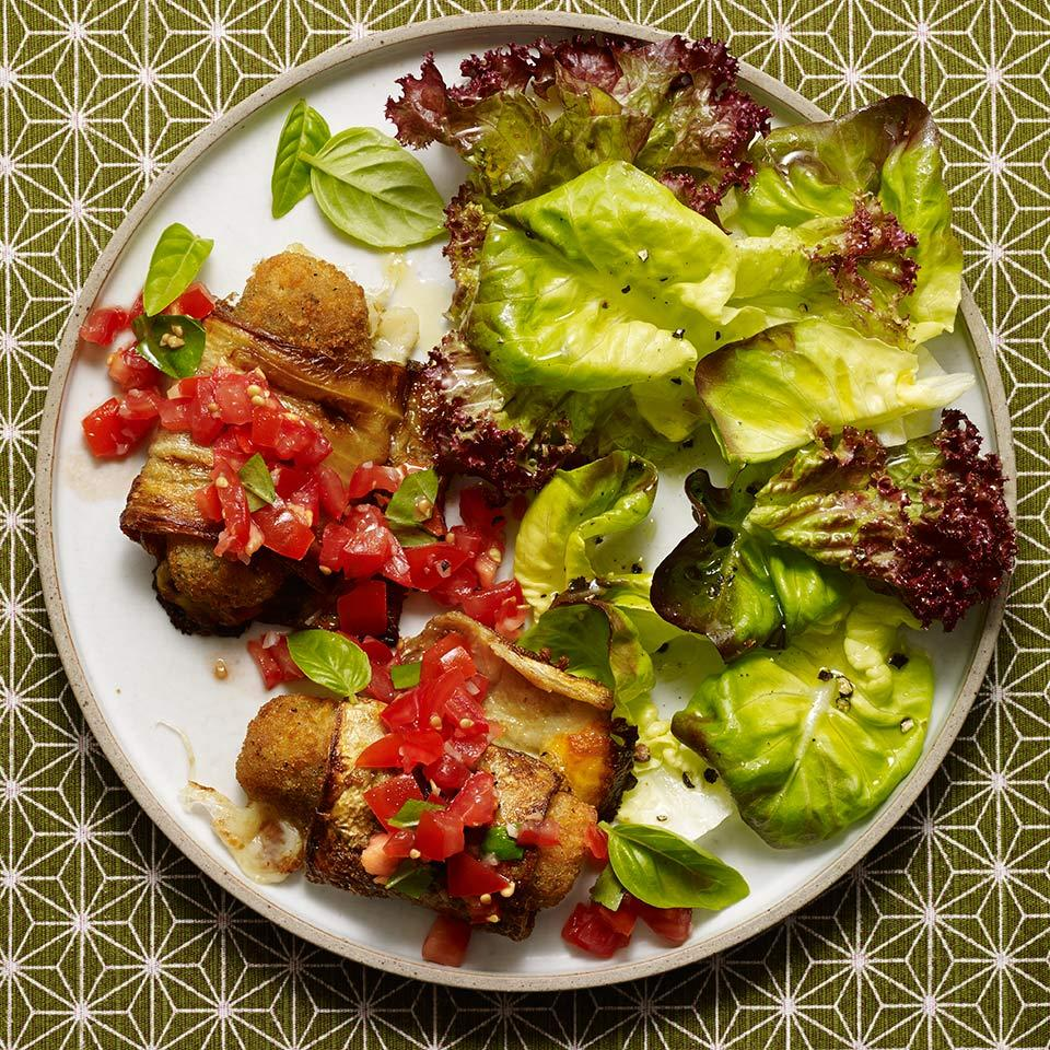 Eggplant & Mozzarella Stick Roll-Ups Carolyn Malcoun
