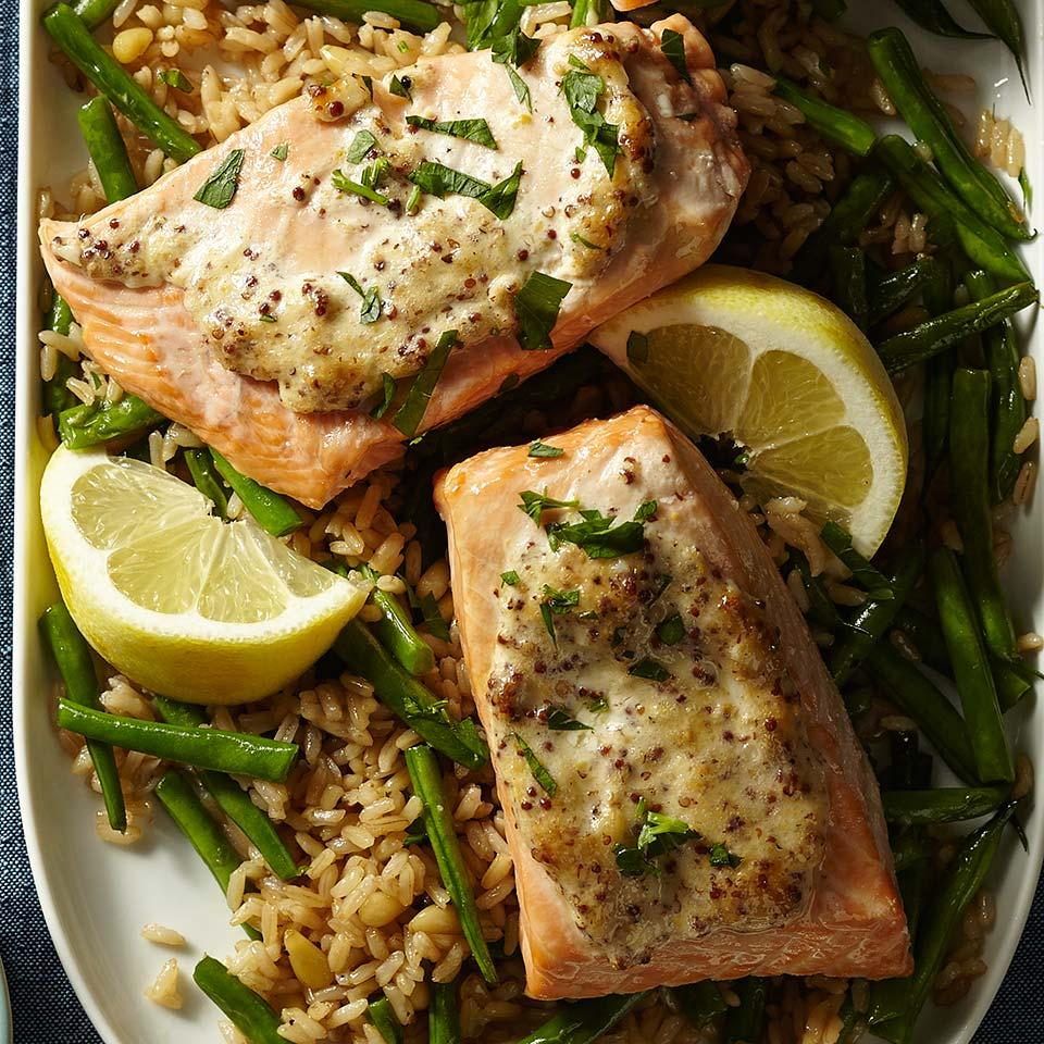 Dijon Salmon with Green Bean Pilaf Carolyn Casner