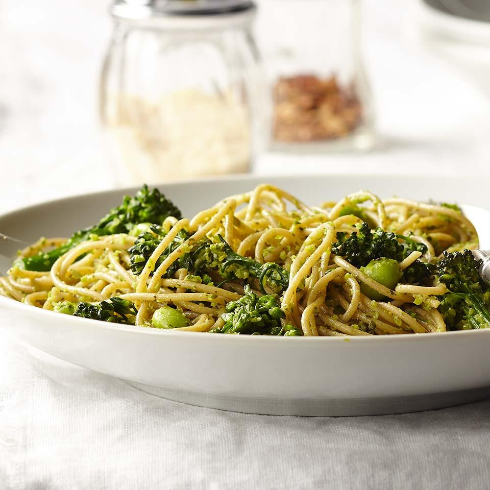 Broccolini stems are quickly softened in the pasta-boiling water before being whirled with basil and Parmigiano-Reggiano into a flavorful pesto sauce in this healthy vegetarian pasta recipe. It's worth seeking out Parmigiano-Reggiano to make the pesto-its superior flavor elevates the final dish. Edamame bumps up the protein to keep you feeling full and satisfied. Source: EatingWell Magazine, September/October 2016