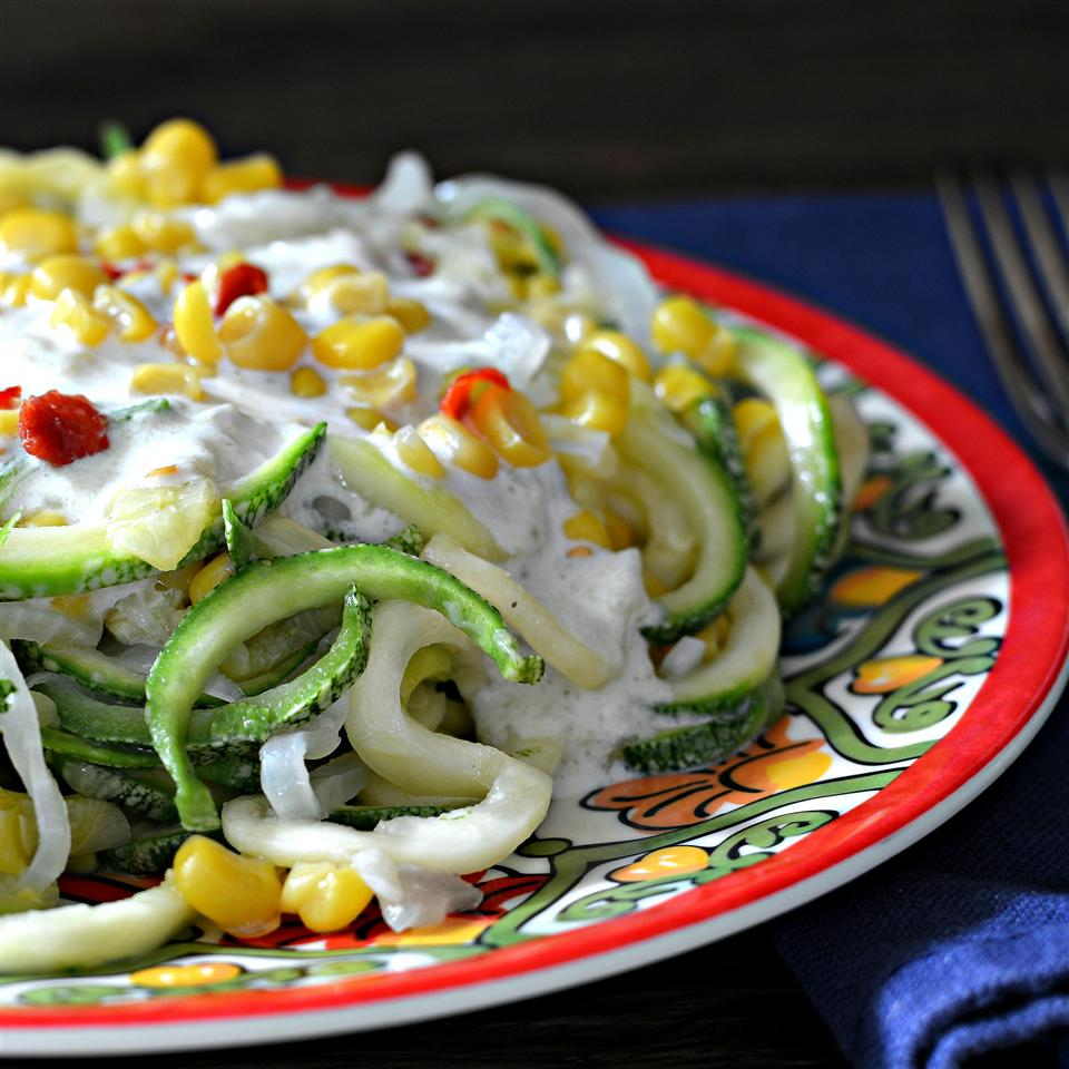 Mexican Squoodles with Creamy Fire-Roasted Green Chile Sauce