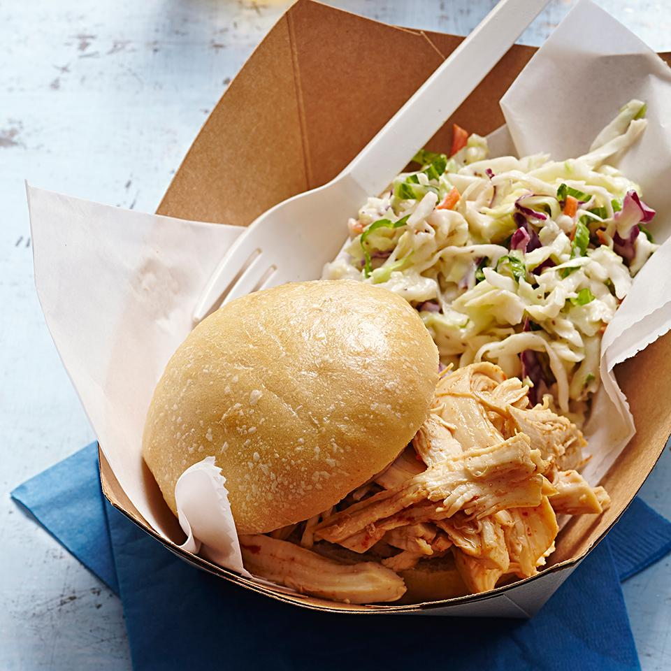 BBQ Pulled Chicken Sandwich with Coleslaw EatingWell Test Kitchen