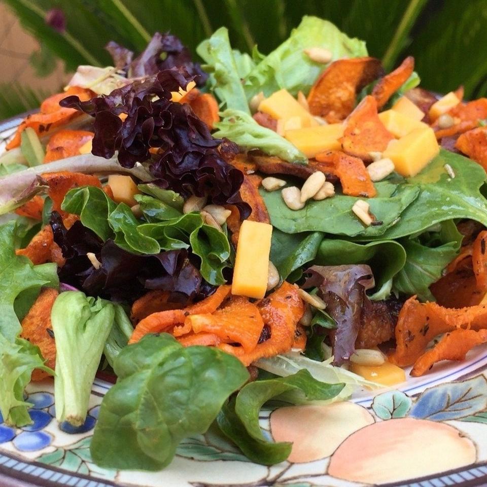 Spiralized Rosemary Roasted Sweet Potato Salad