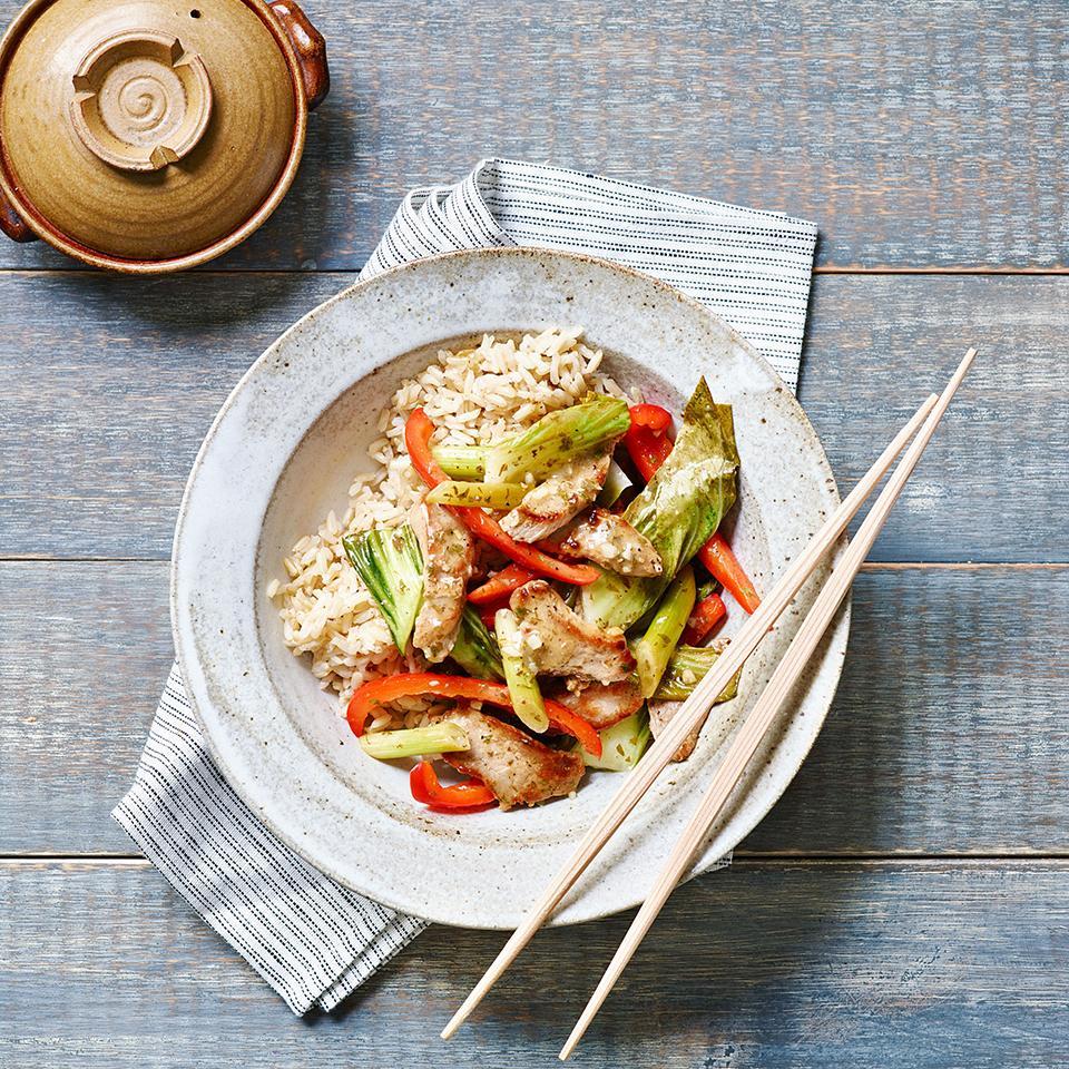 Bell Pepper, Bok Choy & Pork Stir-Fry EatingWell Test Kitchen