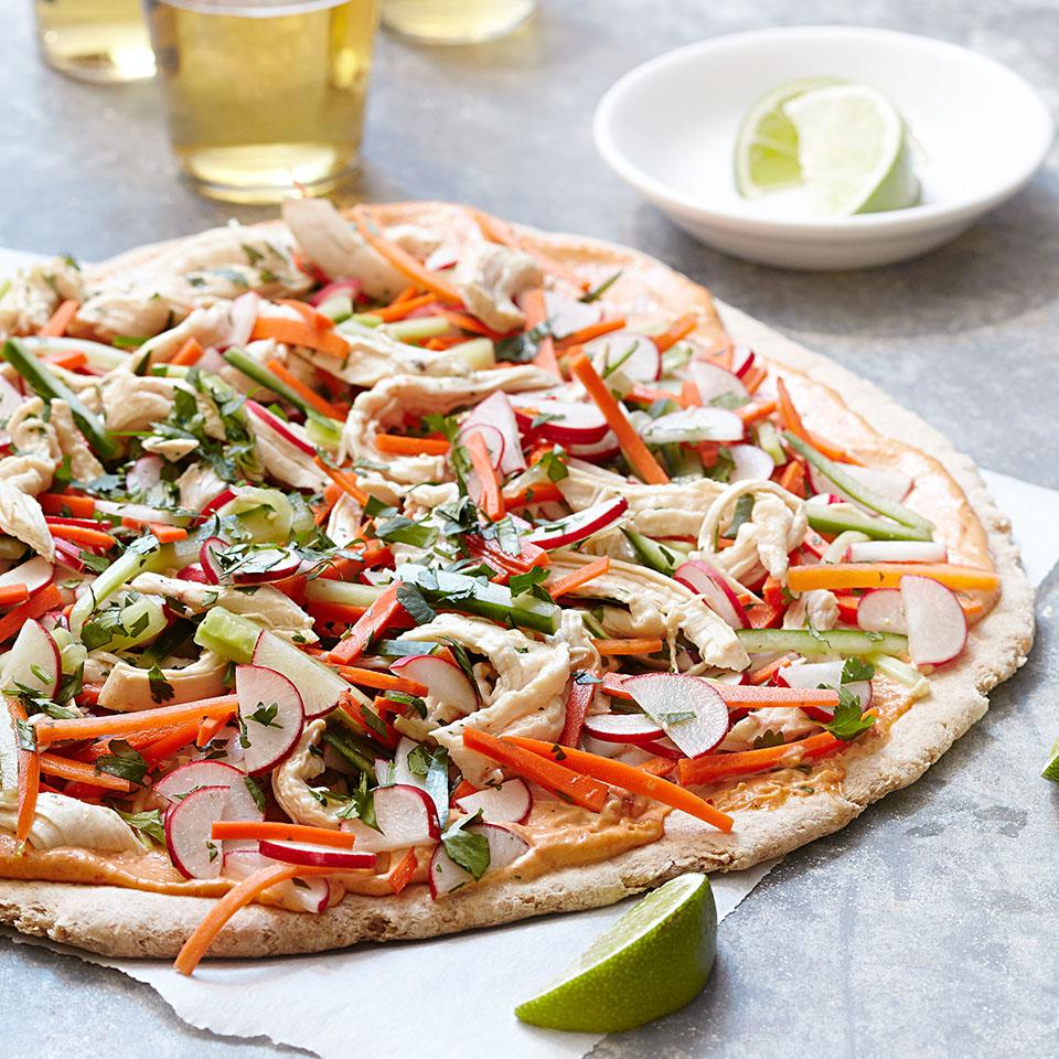 This healthy pizza recipe is inspired by the Vietnamese sandwich called banh mi. Spread on the pizza dough, the curry sauce adds just the right amount of Thai seasoning and spice.