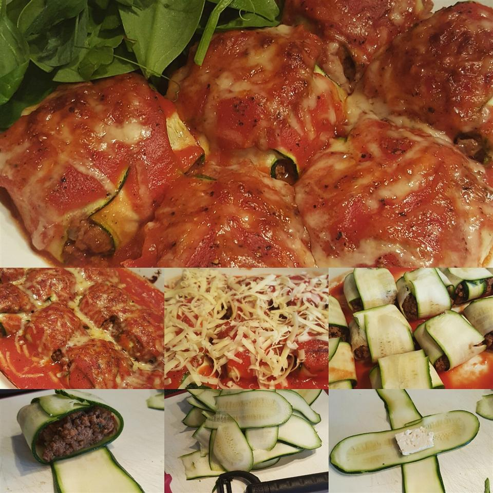 Zucchini Ravioli with Minced Beef and Feta Filling