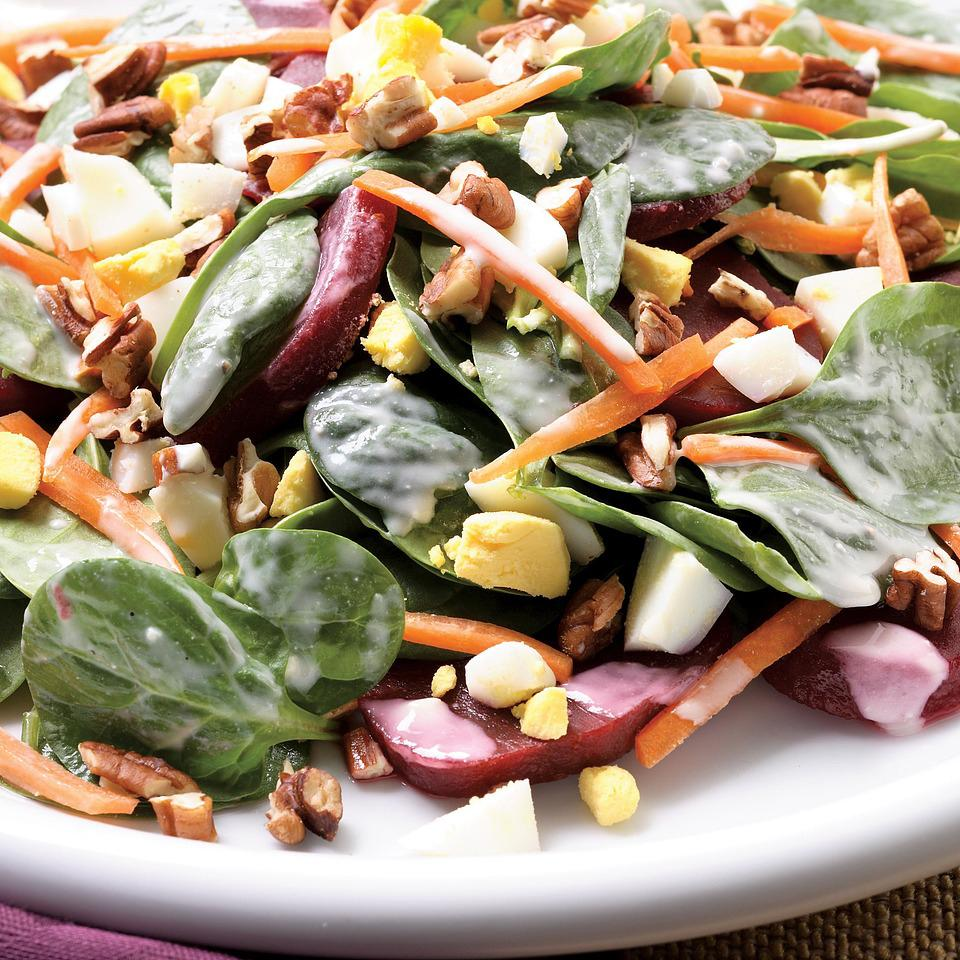 Loaded Spinach Salad EatingWell Test Kitchen
