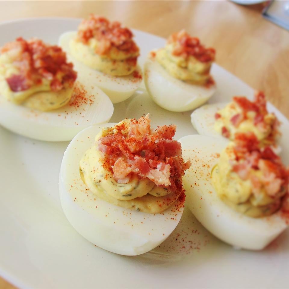 Dill-Infused Deviled Eggs with Bacon Crumble