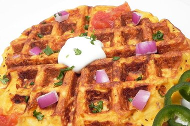 kitchen sink hash brown and egg waffle recipe