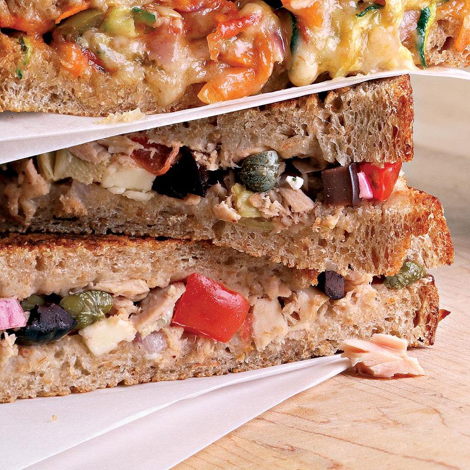 For a great sandwich filling, spike canned tuna with salty olives and capers, bright lemon juice and tangy feta. Source: EatingWell Magazine, July/August 2007