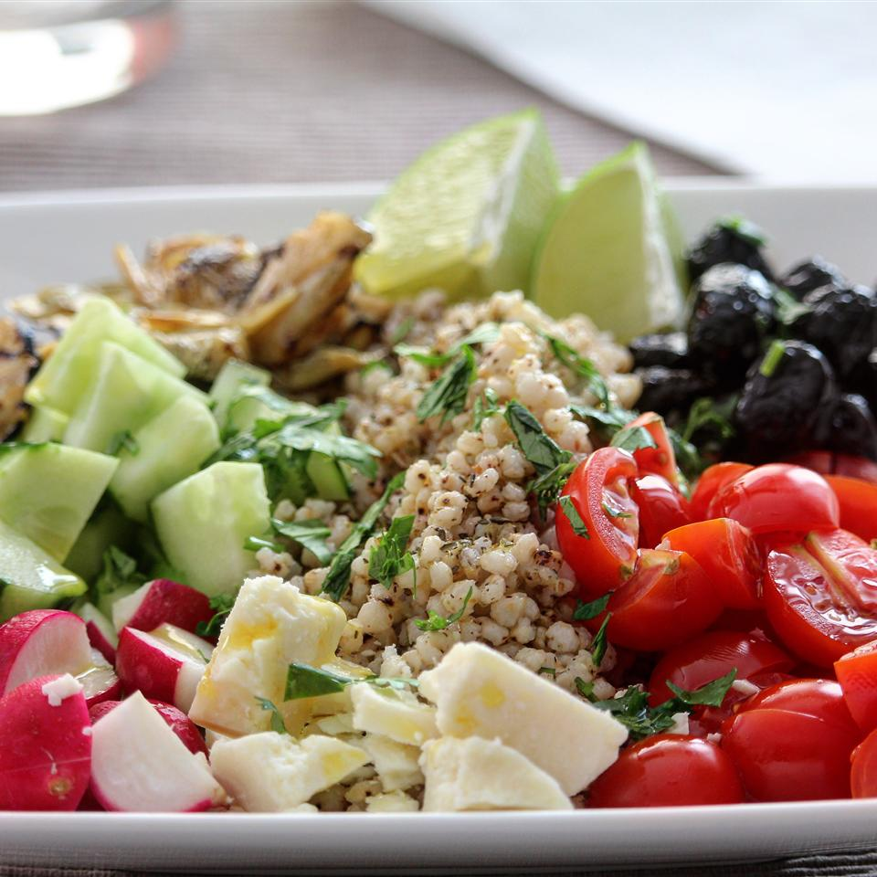 Greek Sorghum Bowl with Artichokes and Olives Buckwheat Queen